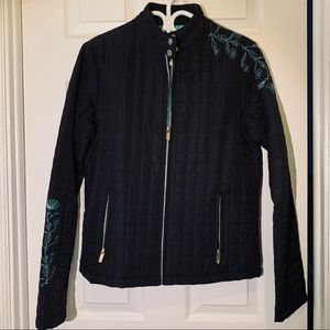 Beautiful black jacket with turquoise details💙